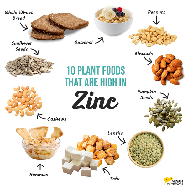Các thực phẩm cung cấp chất kẽm cho người ăn chay